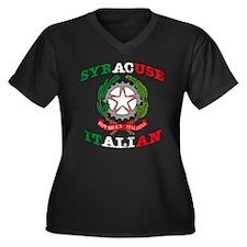 Syracuse Italian Women's Plus Size V-Neck Dark T-S