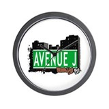 AVENUE J, BROOKLYN, NYC Wall Clock