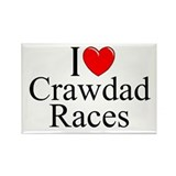 """I Love (Heart) Crawdad Races"" Rectangle Magnet"