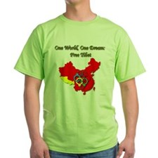 China in Handcuffs Green T-Shirt