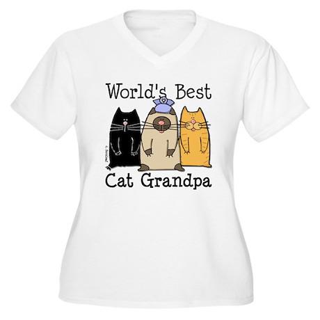 World's Best Cat Grandpa Women's Plus Size V-Neck