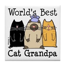 World's Best Cat Grandpa Tile Coaster