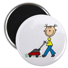 Stick Girl Mowing Lawn Magnet