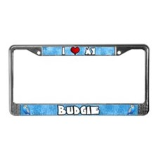 Love Blue Budgie License Plate Frame (Cartoon)