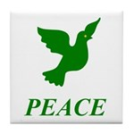 Green Dove Tile Coaster