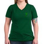 Green Dove Women's V-Neck Dark T-Shirt