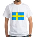 Swedish Flag White T-Shirt
