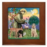 Saint Francis /Spinone(w) Framed Tile
