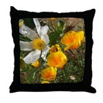 Poppies and White Flower Throw Pillow