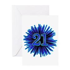21st Blue Spray Greeting Card