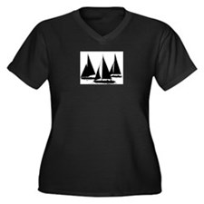 Sailboats Women's Plus Size V-Neck Dark T-Shirt