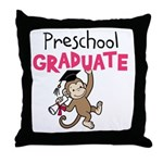 Preschool Graduate - Monkey (Pink) Throw Pillow