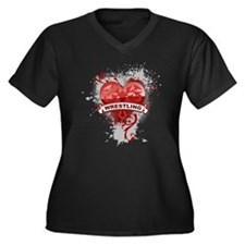 Heart Wrestling Women's Plus Size V-Neck Dark T-Sh
