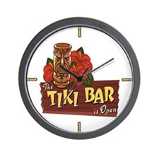 Tiki Bar is Open II - Wall Clock