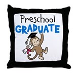 Preschool Graduate - Monkey (Blue) Throw Pillow