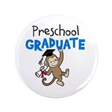 "Preschool Graduate - Monkey (Blue) 3.5"" Button"