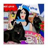 SCHIPPERKE DOG PARIS CAFE Tile Coaster