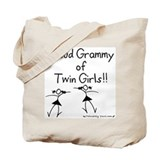 Proud Grammy of Twin Girls Stick Tote Bag