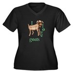 I Love Goats Women's Plus Size V-Neck Dark T-Shirt