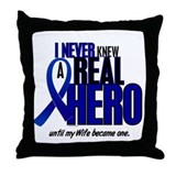 Never Knew A Hero 2 Blue (Wife) Throw Pillow