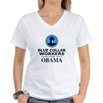 Blue Collar Workers for Obama Women's V-Neck T-Shi