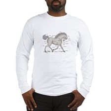 Gray Horse Anatomy Chart Long Sleeve T-Shirt