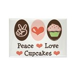 Peace Love Cupcakes Rectangle Magnet (10 pack)