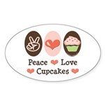 Peace Love Cupcakes Oval Sticker (10 pk)