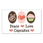 Peace Love Cupcakes Rectangle Sticker