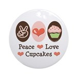 Peace Love Cupcakes Ornament (Round)