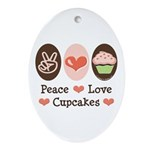 Peace Love Cupcakes Oval Ornament