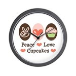 Peace Love Cupcakes Wall Clock