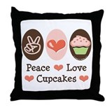 Peace Love Cupcakes Throw Pillow