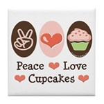 Peace Love Cupcakes Tile Coaster