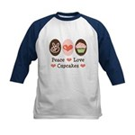 Peace Love Cupcakes Kids Baseball Jersey