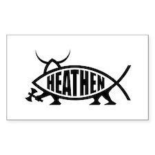 Heathen Fish Rectangle Sticker 10 pk)