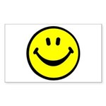 Happy Face Rectangle Sticker 10 pk)