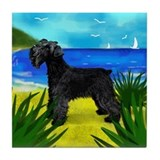 SCHNAUZER DOG BEACH Tile Coaster