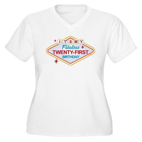 Las Vegas Birthday 21 Women's Plus Size V-Neck T-S