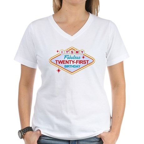 Las Vegas Birthday 21 Women's V-Neck T-Shirt