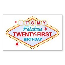 Las Vegas Birthday 21 Rectangle Decal