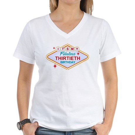 Las Vegas Birthday 30 Women's V-Neck T-Shirt