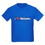 I heart Weimaraners Kids Royal Blue T-Shirt
