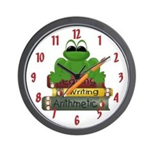 School Books Frog Wall Clock