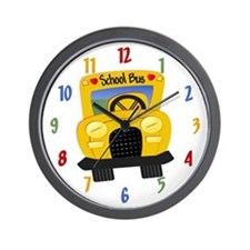 Yellow School Bus Wall Clock