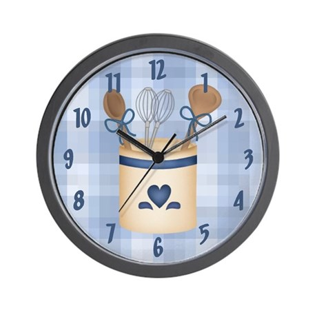 blue gifts blue living room kitchen utensils wall clock