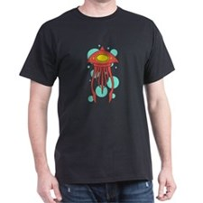 Alien Squid Red Bubbles T-Shirt