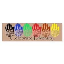 Celebrate Diversity Rainbow Hands Bumper Bumper Stickers