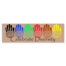 Celebrate Diversity Rainbow Hands Bumper Car Sticker