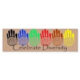 Celebrate Diversity Rainbow Hands Bumper Stickers